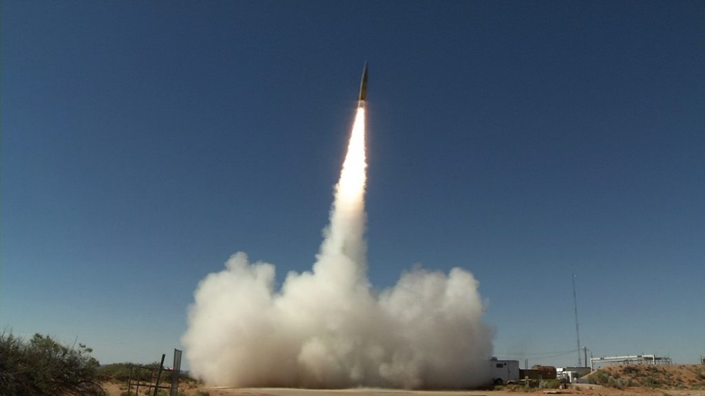 A Sabre short-range ballistic missile launches in June 2017 at White Sands Missile Range, New Mexico, for a test of the Patriot Advanced Capability-3 (PAC-3) Missile Segment Enhancement, an advanced missile defense system. Hypersonic missiles might be able to penetrate PAC-3 and similar systems. (U.S. Army photo by U.S. Army Space and Missile Defense Command/Army Forces Strategic Command)