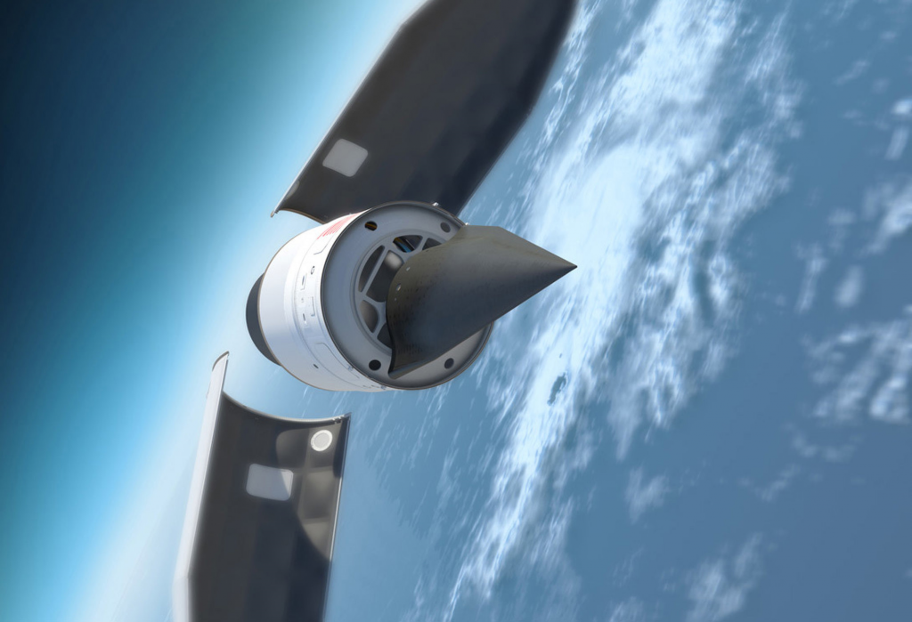 This illustration depicts the Defense Advanced Research Products Agency's (DARPA) Falcon Hypersonic Test Vehicle (HTV) as it emerges from its rocket nose cone and prepares to re-enter the Earth's atmosphere. DARPA has conducted two test flights of the HTV; in the second, in 2011, the HTV reached a speed of Mach 20 before losing control. (Image courtesy of DARPA)