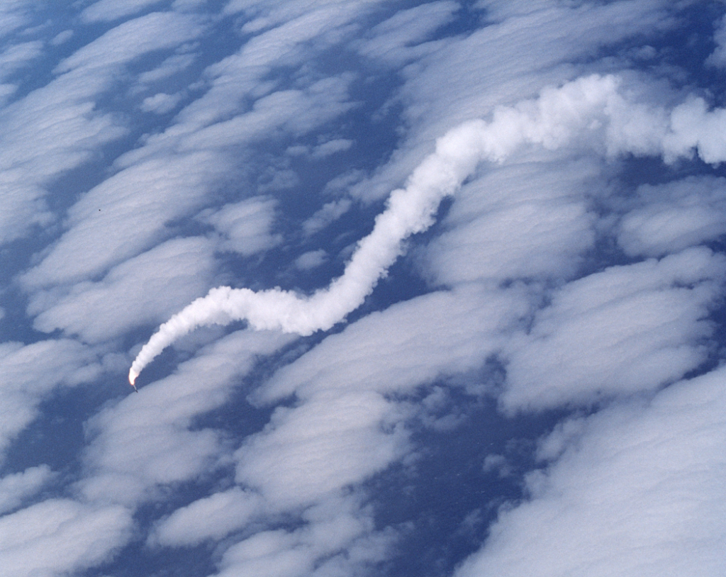 NASA's X-43A hypersonic research aircraft and its modified Pegasus booster rocket spiral into the Pacific Ocean off the California coast in June 2001. After being released from NASA's NB-52B carrier aircraft, the X-43A and the Pegasus booster, which was supposed to accelerate the X-43A to Mach 7, lost control about eight seconds after ignition of the Pegasus rocket motor. Explosive charges were triggered to terminate the flight, which was part of NASA's research into alternative uses for hypersonic flight. (Photo by Jim Ross/NASA via Getty Images)