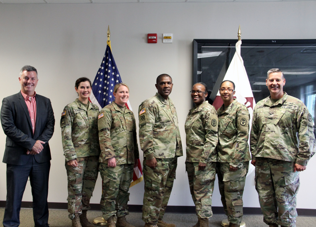 USAMMDA_USAMMA AIP graduation: The 2018 graduating class of the joint Program Management–Acquisitions Internship Program of the USAMMDA and the U.S. Army Medical Materiel Agency, Fort Detrick, Maryland. From left to right: Dr. Tyler Bennett, deputy to the commander for acquisition, USAMMA Col. Lynn Marm, USAMMA commander Maj. Janessa R. Moyer Maj. Jeffrey L. Brown Capt. Efther V. Samuel Maj. Amber L. Smith and Col. Ryan Bailey, USAMMDA commander. Capt. Amanda L. Roth was not present for photo. (Photo by Gregory Pugh, USAMMA public affairs) DATE: July 20, 2018