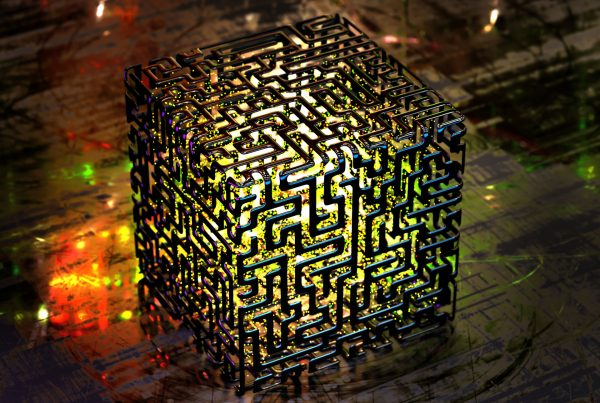 Complex quantum computers of the kind depicted in this conceptual rendering are decades away, but quantum clocks and other applications of the knowledge that quantum mechanics has discovered could be in wide use much sooner. (Graphic by Getty Images)