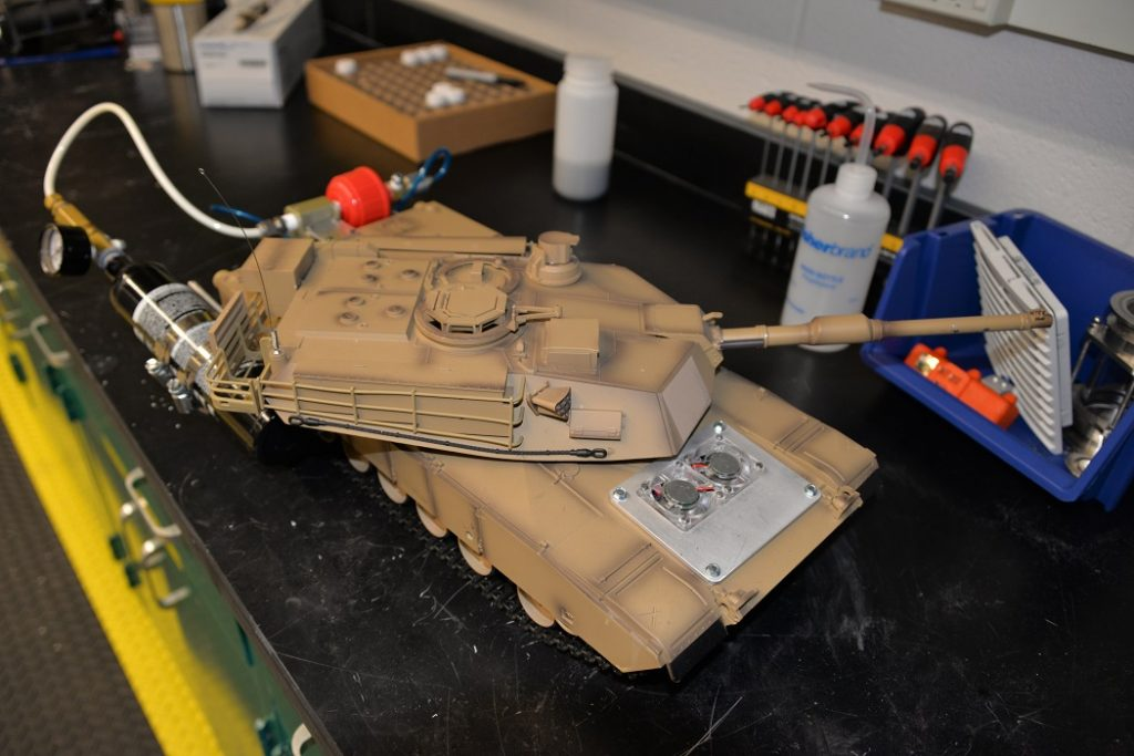 A remote-controlled tank at ARL, powered by hydrogen-electric fuel, awaits demonstration. Fuel systems like this one eliminate the need for high-pressure hydrogen canisters that can pose an extreme hazard on the battlefield if ruptured.