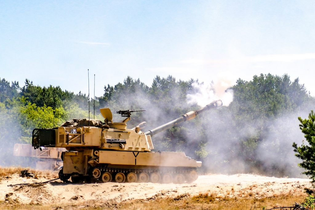 An M109A6 Paladin belonging to the 1st Battalion 82nd Field Artillery Regiment conducts a t fire mission in Torun, Poland while conducting Battery qualifications. The Battalion is part of the 1st Armored Brigade Combat Team, 1st Cavalry Division training in support of Atlantic Resolve.