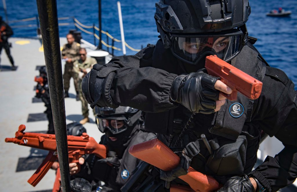 180506-N-UY653-182 MEDITERRANEAN SEA (May 6, 2018) Moroccan Royal Navy sailors participate in visit, board, search and seizure training aboard the Tunisian Navy MNT Khaireddine during exercise Phoenix Express 2018. Phoenix Express is sponsored by U.S. Africa Command and facilitated by U.S. Naval Forces Europe-Africa/U.S. 6th Fleet, and is designed to improve regional cooperation, increase maritime domain awareness information sharing practices, and operational capabilities to enhance efforts to achieve safety and security in the Mediterranean Sea. (U.S. Navy photo by Mass Communication Specialist 2nd Class Ryan U. Kledzik/Released)