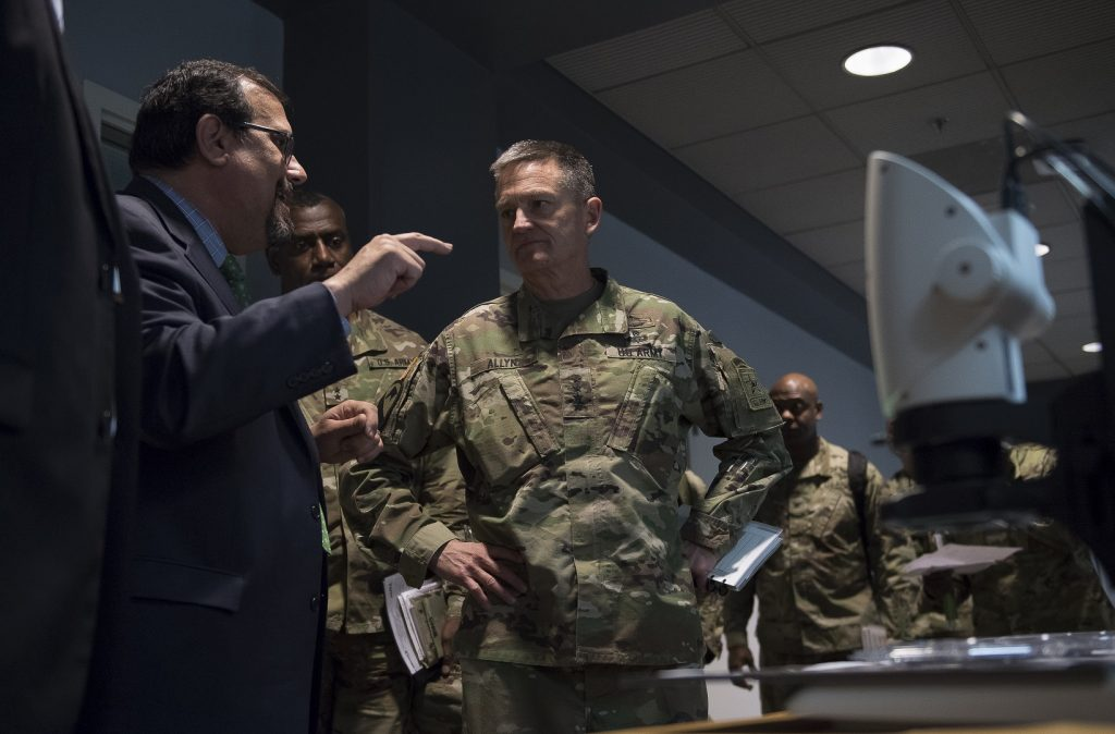 Perconti speaks with Gen. Daniel B. Allyn, then-vice chief of staff of the Army, during Allyn's April 2017 visit to ARL. ARL was established in 1992 to focus on gathering and generating land warfare technologies needed by the Army. With the recent stand-up of the Army Futures Command, ARL will focus on high-risk, high-payoff research to support S&T across the new command and represent its S&T interests worldwide. (U.S. Army Research Laboratory photo)