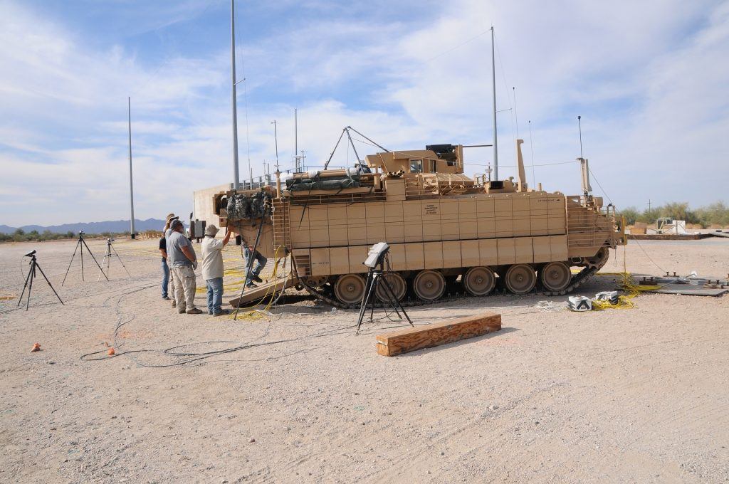 The recently developed Armored Multi-Purpose Vehicle, shown here at Yuma Proving Ground, Arizona, for testing, has nearly 80 percent more interior volume than the predecessor vehicle, and more power and survivability. The vehicle's project manager is assessing how much contractor test data can replace government tests, which sometimes repeat the tests conducted by the manufacturer. (Photo by Mark Schauer, Yuma Proving Ground)