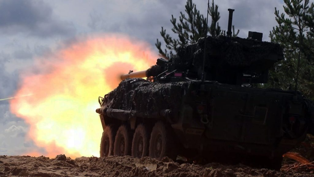 Stryker crewmen with the 1st Squadron, 2nd Cavalry Regiment fire an M1128 Mobile Gun System during a joint combined arms live fire exercise Aug. 26-30 at Bemowo Piskie Training Area, Poland. The CALFEX is designed to maintain readiness and build interoperability among BPTA Soldiers. The Soldiers are on a six-month rotational assignment in support of the multinational battle group comprised of U.S., U.K., Croatian and Romanian Soldiers who serve with the Polish 15th Mechanized Brigade as a defense and deterrence force in northeast Poland in support of NATO's Enhanced Forward Presence at BPTA. (U.S. Army photo by Sgt. John Onuoha)