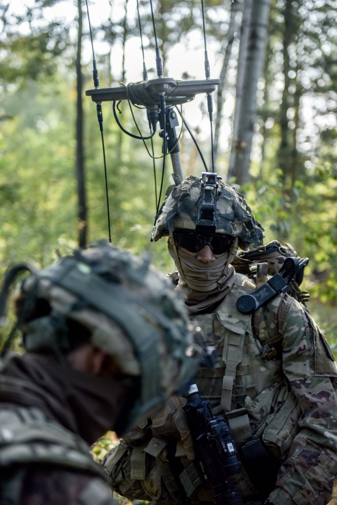 Soldiers with the Combat Electronic Warfare Intelligence Platoon, Delta Company, 54th Brigade Engineer Battalion provide signal intelligence to help the 173rd Airborne Brigade during Saber Junction 18, held in September 2018 in Germany. As more and more signals are captured by satellites, radars and other devices, the signal detection process is no longer efficient in understanding the vast amount of data presented to EWOs on the battlefield. (U.S. Army photo by Spc. Josselyn Fuentes, 173rd Airborne Brigade)