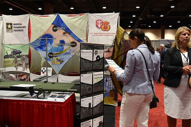 The 2018 Military Health System Research Symposium focuses on the Warfighter's unique medical needs. The Symposium consisted of more than 75 break-out sessions, 90 exhibits and 1,400 poster presentations. (Photo by Leticia Hopkins, USAMRMC Public Affairs)
