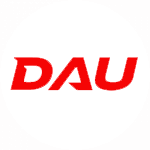 Graphic for DAU written in red