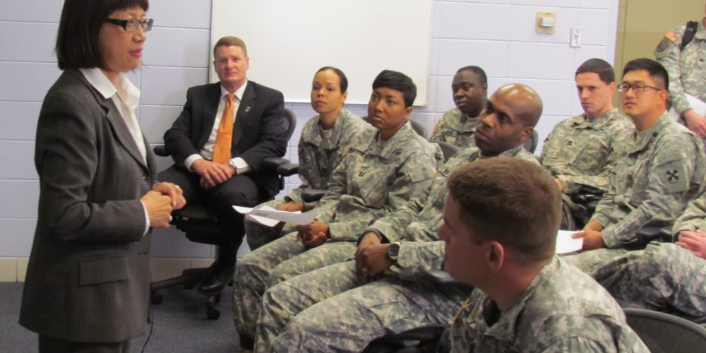 Army acquisition executive visits contracting students