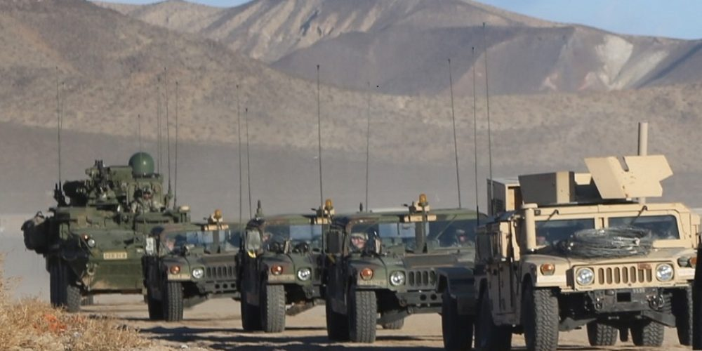 Networked Stryker unit on-the-move at National Training Center